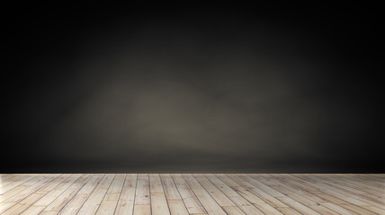 Idea of empty room with vintage wooden floor and large wall. used as background studio wall for display your products.