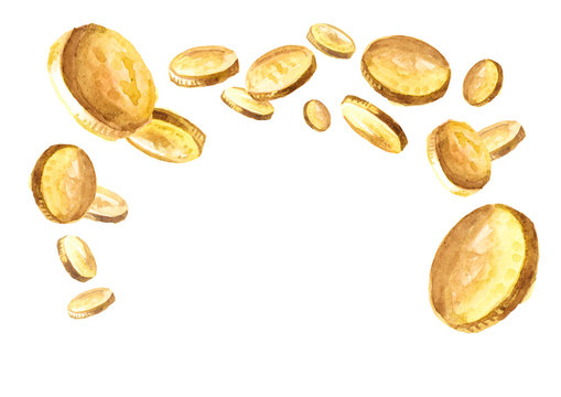 Falling gold coins, golden rain,  falling money. Jackpot or success concept. Watercolor hand drawn illustration, isolated on white background