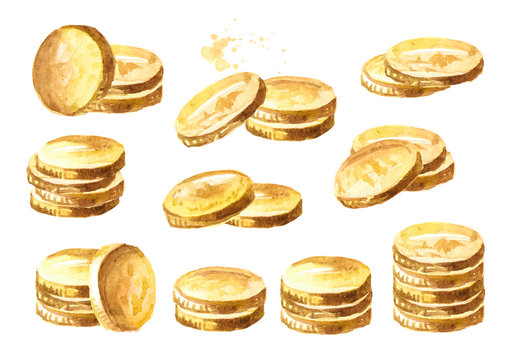 Golden coins set. Watercolor hand drawn illustration isolated on white background