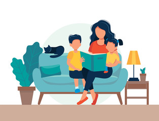 Mom reading for kids. Family sitting on the sofa with book. Cute vector illustration in flat style