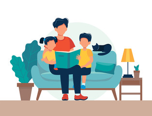 Dad reading for kids. Family sitting on the sofa with book. Cute vector illustration in flat style