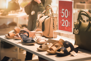 Red Tag 20% , 50% off for women fashion shoes in department stores Ideas for selling Black Friday.