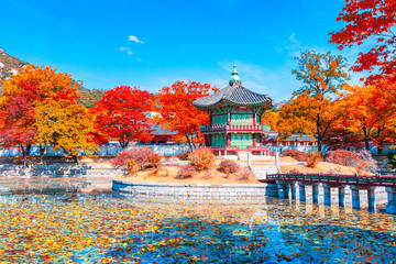 Aluminium Prints Seoul Beautiful Autumn in Gyeongbokgung palace, Hyangwonjeong pavilion in Seoul of South Korea