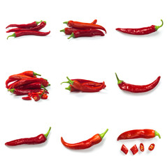 Set of Red chili pepper isolated on a white background. Healthy food. Fresh vegetables.