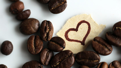 The pattern of heart among the coffee beans