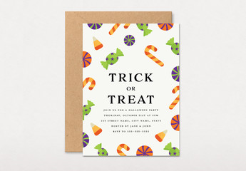 Graphic Kids Trick or Treat Party Invitation Layout
