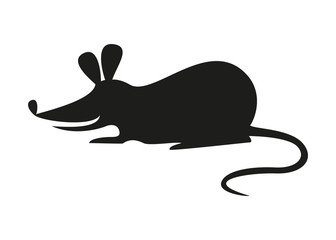 The black silhouette of rat or mouse on white background.