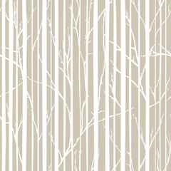 Branches of trees intertwine. Seamless pattern natural theme. Branches and stripes pattern