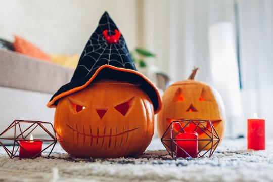 Halloween jack-o-lantern pumpkins. Home decorated with traditional Halloween symbols.