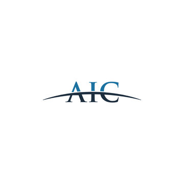 Initial letter AIC, overlapping movement swoosh horizon logo company design inspiration in red and dark blue color vector