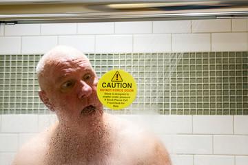 Man stuck in shower
