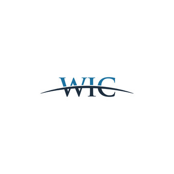 Initial letter WIC, overlapping movement swoosh horizon logo company design inspiration in red and dark blue color vector