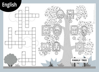Vector crossword in English, education game for children about family members. Cartoon family tree with images of people in frames