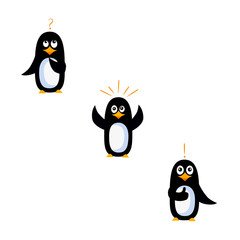 Vector illustration set of penguins who come up with a creative idea.