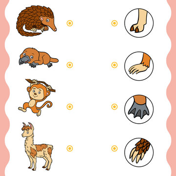 Matching game, education game for children. Find the right parts, set of cartoon animals