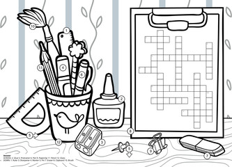 Vector crossword in English, education game for children. Cartoon stationery set and objects for school