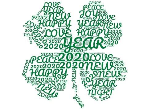 4-leaf clover word cloud happy 2020.