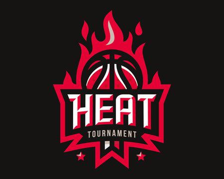 Basketball logo design, emblem tournament template editable for your design.