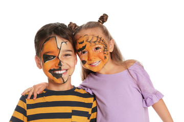 Cute little children with face painting on white background