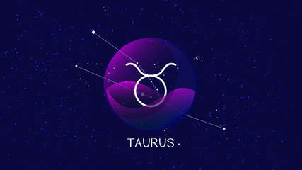Taurus sign zodiac background. Beautiful and simple illustration of night starry sky with taurus or bull zodiac constellation behind glass sphere with encapsulated taurus sign and constellation name.