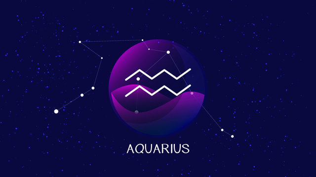 Aquarius sign, zodiac background. Beautiful and simple illustration of night, starry sky with aquarius zodiac constellation behind glass sphere with encapsulated aquarius sign and constellation name.