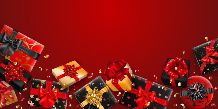 Vector illustration of black and golden gift boxes with ribbons, bows and shadows, and small shiny pieces of serpentine on red background