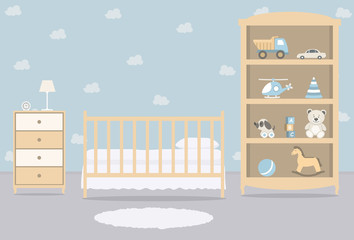 Kid's room for a newborn baby. Interior bedroom for a baby boy. There is a cot, a wardrobe with toys and other things in the picture. Vector illustration