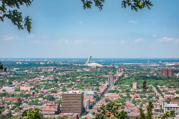 Montreal city summer view of  Olympic Stadium from top of Mount Royal, neighborhood background. Mobile picture taking with phone.