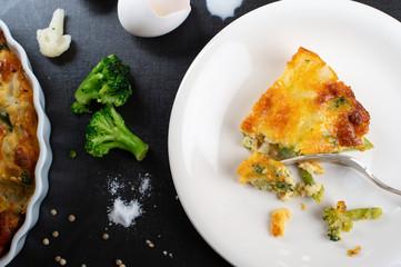 Low Carb Gluten Free Broccoli Cauliflower Pie