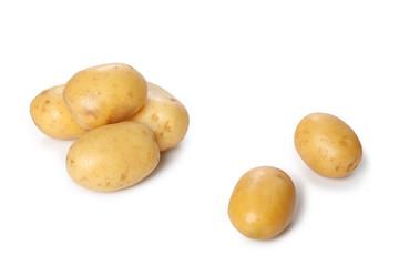 raw potatos isolated on white background