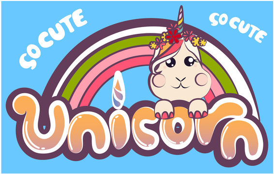 Unicorn cartoon vector with text. Pastel color illustrator : Series fairy tales Pony- card