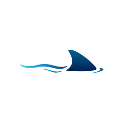 Swimming Shark with Blue Fin illustration