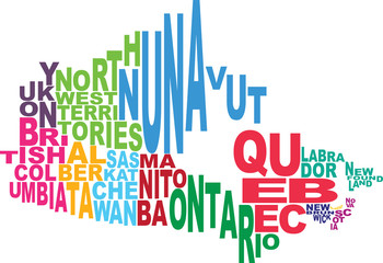 Canada state map word cloud