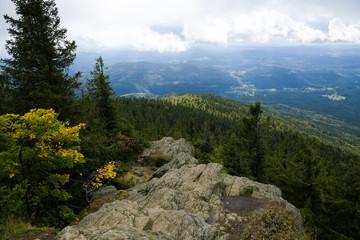 Stimmungsvolle Landschaft mit Blick vom 1315 Meter hohen Großen Falkenstein im Bayrischen Wald, dem größten Waldschutzgebiet Mitteleuropas