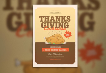 Thanksgiving Event Flyer Layout with Turkey Dinner Illustration