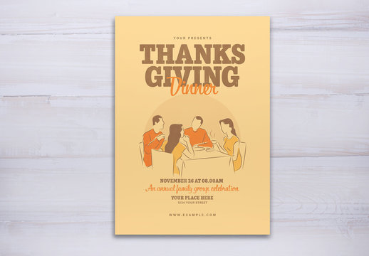 Thanksgiving Event Flyer Layout with Dinnertable Scene Illustration