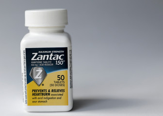 A bottle of Zantac heartburn drug is seen in this picture illustration