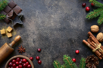 Culinary background with christmas winter spices and ingredients for baking. Top view with copy space.
