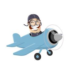 funny asian cartoon man flying in a plane