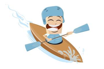 funny asian cartoon man using a kayak