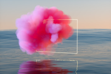Pink cloud over sea, 3D rendering