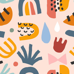 Flat hand drawn contemporary abstract doodles made as seamless repeat pattern. Abstraction colorful background. Trendy paper cut style shapes. Moon, foliage and flower. Good for textile print.