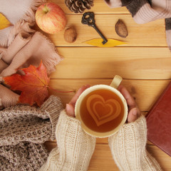 cup of hot fragrant tea in the hands of a woman, autumn leaves, an apple, cozy scarves and knitted...