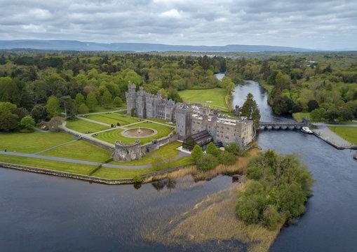 Ashford Castle aerial view. Cong, Ireland. May, 2019