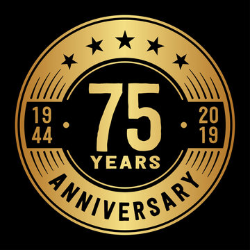 75 years anniversary logo template. Seventy-five years logo. Vector and illustration.
