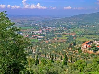 Italy, Tuscany, Cortona land view from Girifalco fortress.