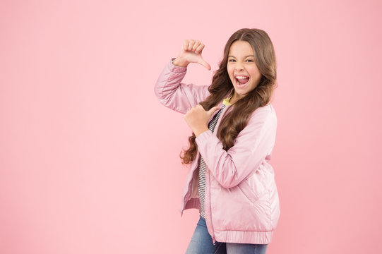 Girls power. Look at me. Modern fashion for kids. Clothes store. Autumn season collection. Street style outfit. Comfortable outfit for autumn. Trendy outfit. Little kid wear pink bomber jacket