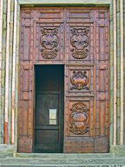 Italy, Tuscany, Cortona, San Francesco roman catholic church main door.