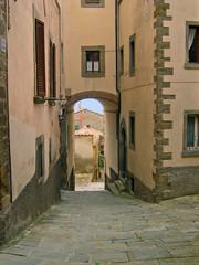 Italy, Tuscany, Cortona typical city medieval street.