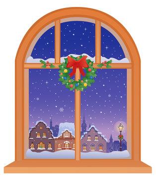 Christmas town window view